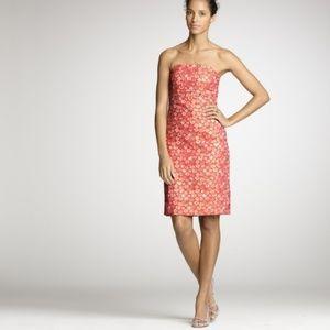 EUC! J. crew pansy floral strapless dress